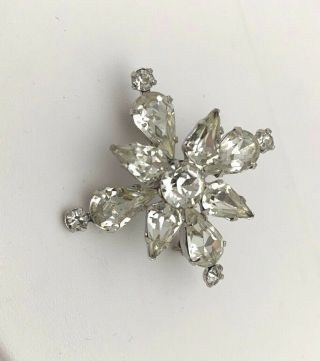 Vintage Signed Weiss Co Brooch Pin Clear Rhinestones Starburst Flower
