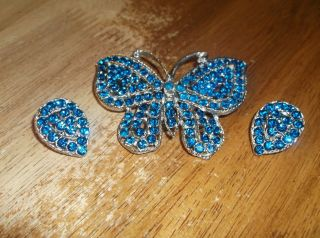 Vintage Blue Butterfly Brooch/pin And Earrings Weiss?