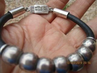 Vintage Silver World Bracelet W/sterling Ball Beads And Leather Mexico Signed