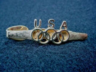 Mens Older Vtg Tie Clasp Clip Bar Olympic Rings Usa By Dante Goldtone Vgc 60s?