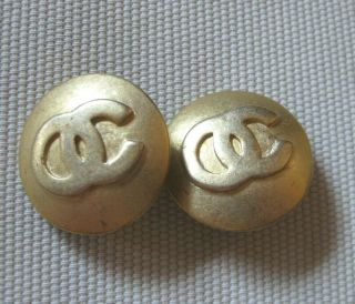 Casual Corner Vintage Cc Logo Clip - On Gold - Tone Earrings