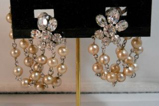 Vintage Unsigned Crystal Rhinestone Faux Pearls Swag Ear Climber Clip Earrings