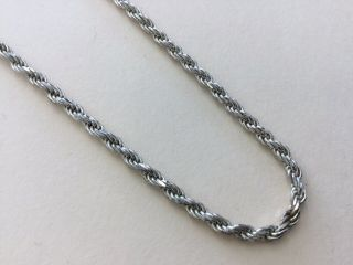 """Vintage Sterling Silver 925 Chunky Long Rope Chain Necklace 30 """" Dk12"""