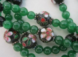 """Vintage Jade Green Glass Flapper Necklace With Chinese Cloisonné Beads 36 """""""