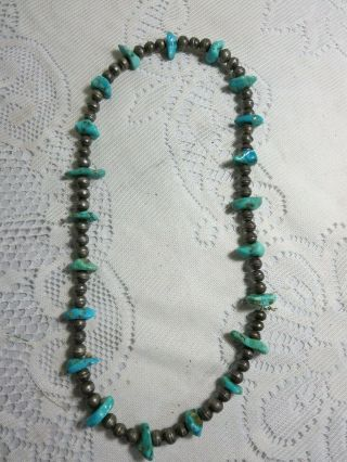 Vintage Silver & Turquoise Necklace Strung On Wire