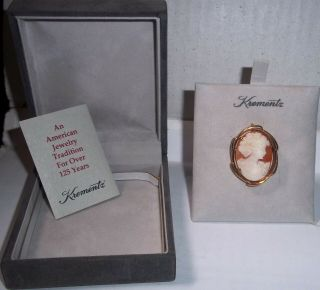 Vintage Krementz Hand Carved Shell Cameo Pin Brooch 14k Gold Overlay Box Papers