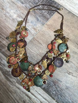Vintage Brass Copper & Painted Brass Statement Necklace Bib With Dangle Charms