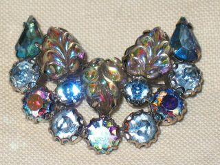 Vintage Blue Crescent Moon Ab Rhinestone Pin Signed Weiss Molded Leaves Brooch
