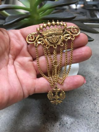 Vintage Signed Art Gold Tone Ornate Dangle Pin/brooch Crown Chains Bird