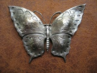 Vintage Sterling Silver Butterfly Pin Brooch Signed Ami