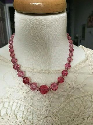 Vintage Czech Crystal Necklace With Cranberry,  Faceted Beads