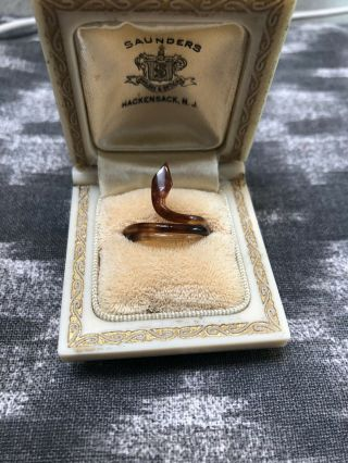 Vintage Faux Tortoise Shell Celluloid Snake Wrap Ring