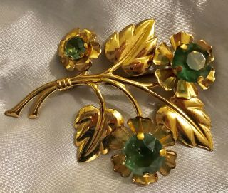 Huge 1940's Retro Deco Vintage Gold - Plated Lime Green Rhinestone Brooch