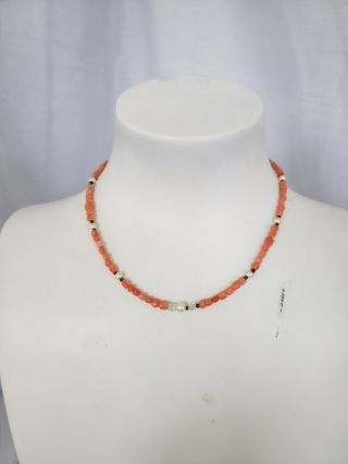 Vintage Pink Coral Bead Necklace W/pearls