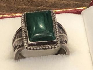 Navajo Sterling Silver Green Vintage Native American Feather Sz 11.  5 Ring