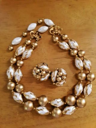 Vintage Deauville Gold And White Necklace And Clip - On Earrings