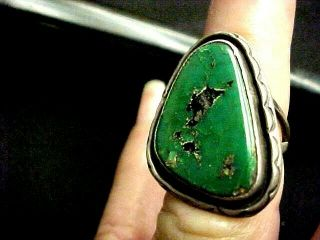 Vintage 40,  Yr Old Navajo Ring Green Turquoise Hand Stamping Around Bezel Sz 6.  5