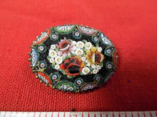 Vintage Micro Mosaic Oval Pin/brooch And Earring Set