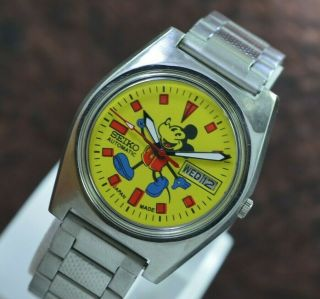 Vintage Seiko Mickey Mouse Day Date 17 Jewels 6309 Movement Men