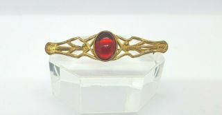 Vintage Miriam Haskell Costume Gold - Tone Brooch With Red Stone