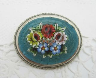 Vintage Pretty Blue Micro Mosaic Oval Floral Brooch Set In Silver