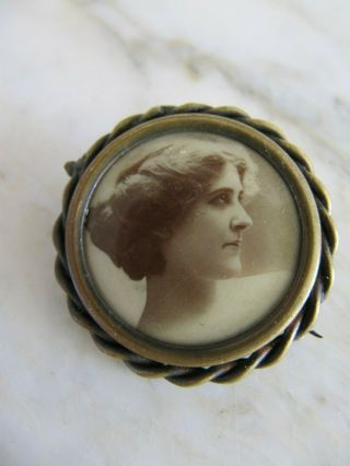 Vintage Victorian Sepia Photo Woman Portrait Mourning Brooch Pin