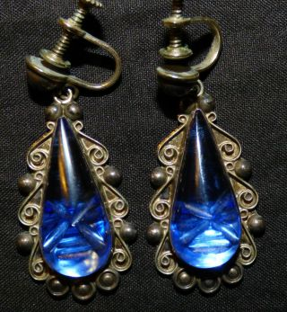 Vintage Sterling Mexican Screw Back Earrings Blue Glass Signed