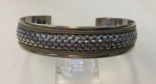 """Vintage Two Tone Sterling Silver 925 Chunky & Unique Cuff Bracelet 7.  5 """" Ac1"""