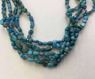 """Vintage Sterling 925 Clasp Multi Strand Turquoise Toggle Necklace 18 """" Fz4"""