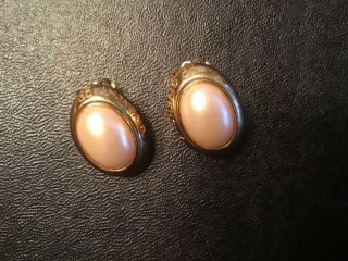 Elegant Vintage Givenchy Gold Tone & Pearl Clip Earrings -