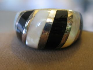 Vtg Sterling Silver Onyx Mop Inlaid Signed K Thai Size 7 3/4 Gorgeous Ring 8.  5g
