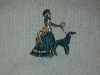 Vintage Creed Signed Sterling Silver Lady Walking Borzoi Dog Brooch,  1950