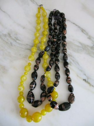 Vintage Black And Rose Gold & Yellow Venetian Murano Glass Beads Necklaces