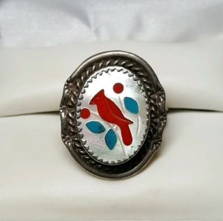Vintage Zuni Red Cardinal Sterling Silver Turquoise Ring Sz 7.  5