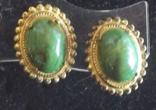 Miriam Haskell Vintage Earrings Green Marbled Art Glass Russian Gold Filigree
