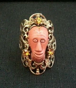 Vintage Unsigned Selro Style African Tribal Face Mask Ring
