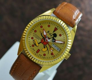 Vintage Citizen Mickey Mouse Gold Plated Day Date 21 Jewels Men