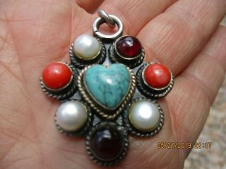 Vintage Southwestern Sterling Silver Pendant Cluster Turquoise Heart Coral Pearl