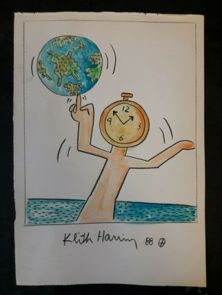 Drawing On Vintage Paper Signed Keith Haring