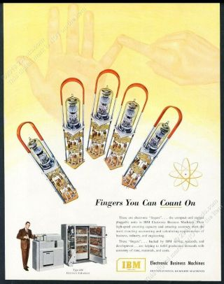 1952 Ibm 604 Computer 5 Fingers You Can Count On Vac Tube Art Vintage Print Ad