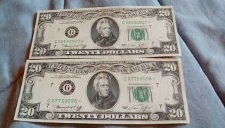 $20 Star Note 1974 G Code Vintage Currency Bill