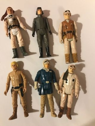 6 Vintage Star Wars Esb Figures Luke Hoth & Bespin Rebel Commander At - At Driver