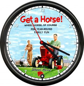 Wheel Horse Garden Tractor Retro Ad Vintage Service Sales Repair Sign Wall Clock