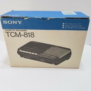 Vintage Sony Tcm - 818 Cassette Recorder With Box And Microphone