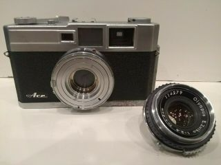 1958 Olympus Ace Rangefinder W/45 Mm F/2.  8 Lens,  Made In Japan.