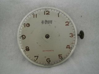 Vintage Watch Movement Eta 1100 With Le Phare Dial.
