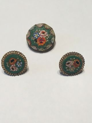 Fantastic Vintage Micro Mosaic Brooch And Screw Back Earring Set Italy