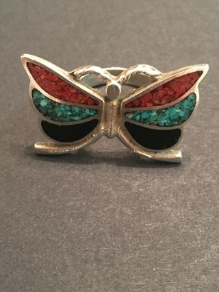 Vintage 1970s Native American Jewelry Butterfly Ring Turquoise Coral Onyx Silver