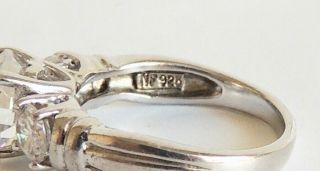 Vintage,  Sterling Silver 925 Engagement Ring.  (sz 7)