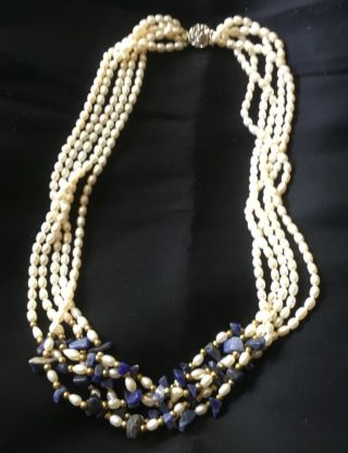 "Vintage 18"" Ten Strand Freshwater Pearl With Lapis Lazuli & Rose Clasp Necklace"